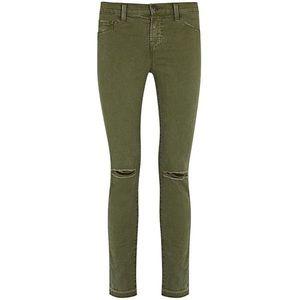 J BRAND Super Skinny 811 Olive green distressed